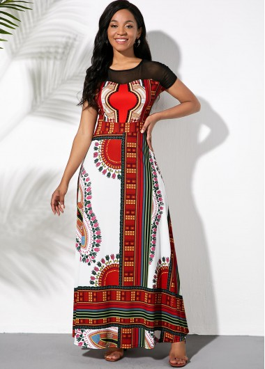 Rosewe Women Black And Red Tribal Printed Illusion Maxi Vintage Dress Short Sleeve A Line Cocktail Party Dress - M