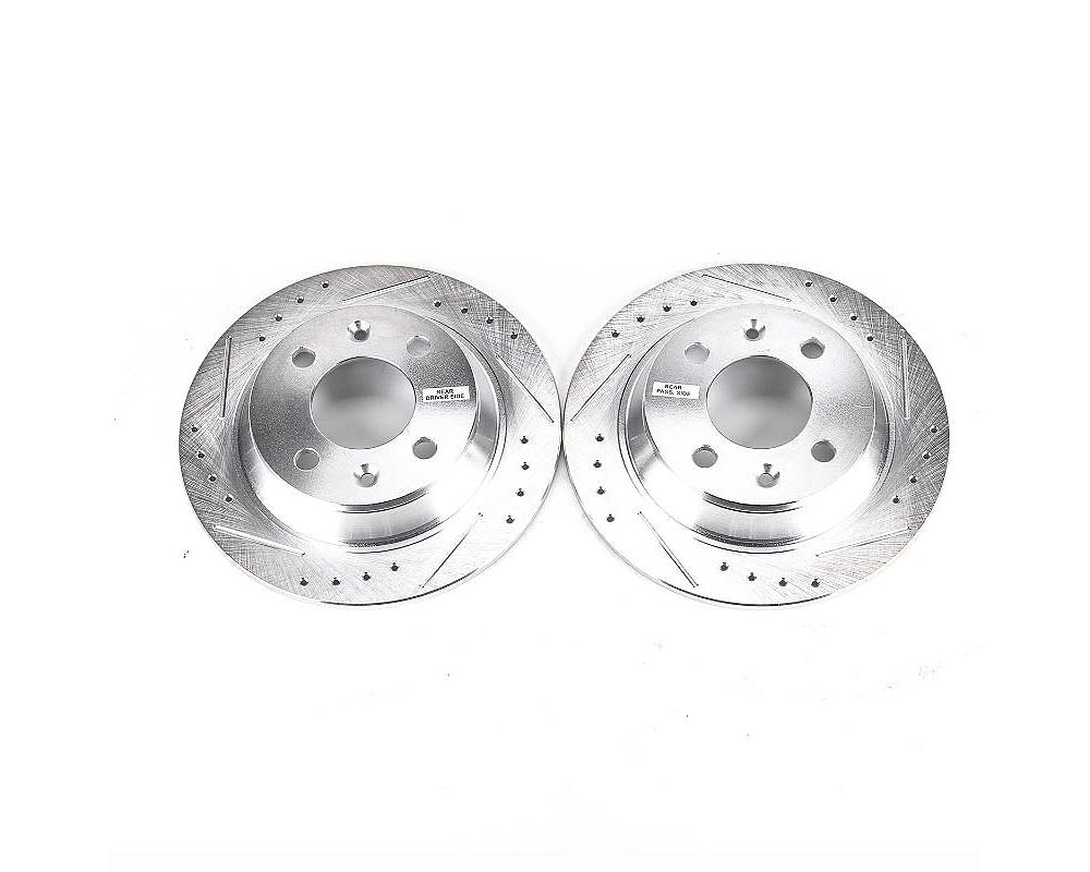 Power Stop EBR232XPR Evolution Drilled & Slotted Rotors - Pair Rear Saab 900 1987-1993