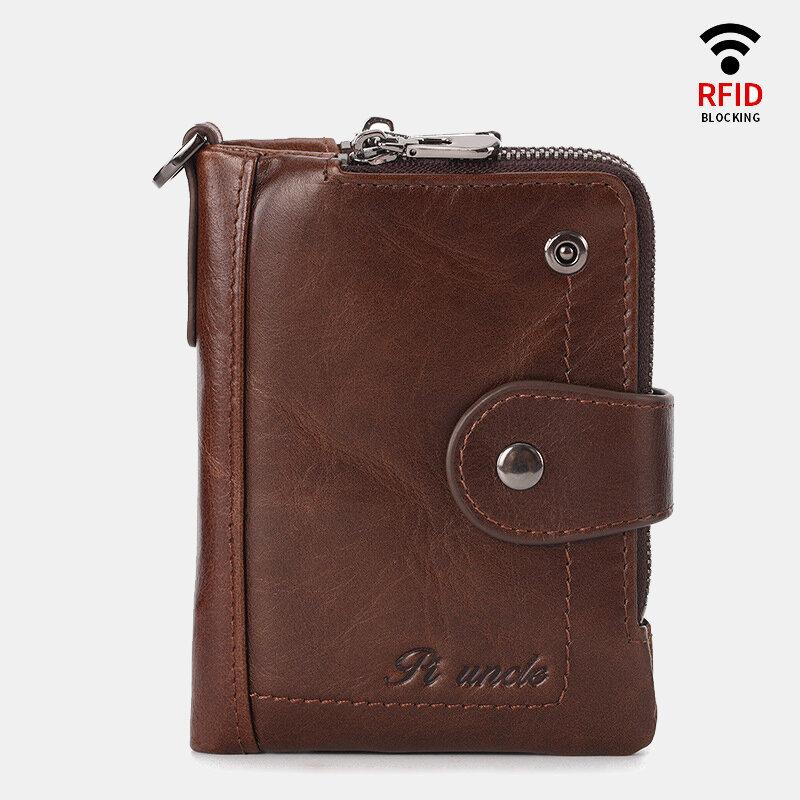 Men Rfid Antimagnetic Genuine Leather Zipper Purse Casual Wallet