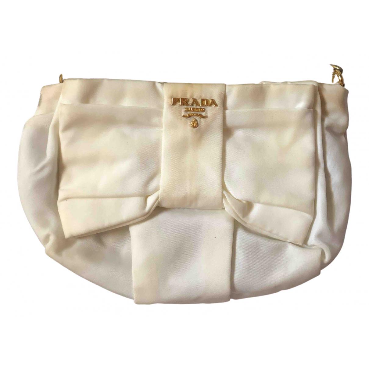 Prada - Pochette   pour femme en toile - blanc