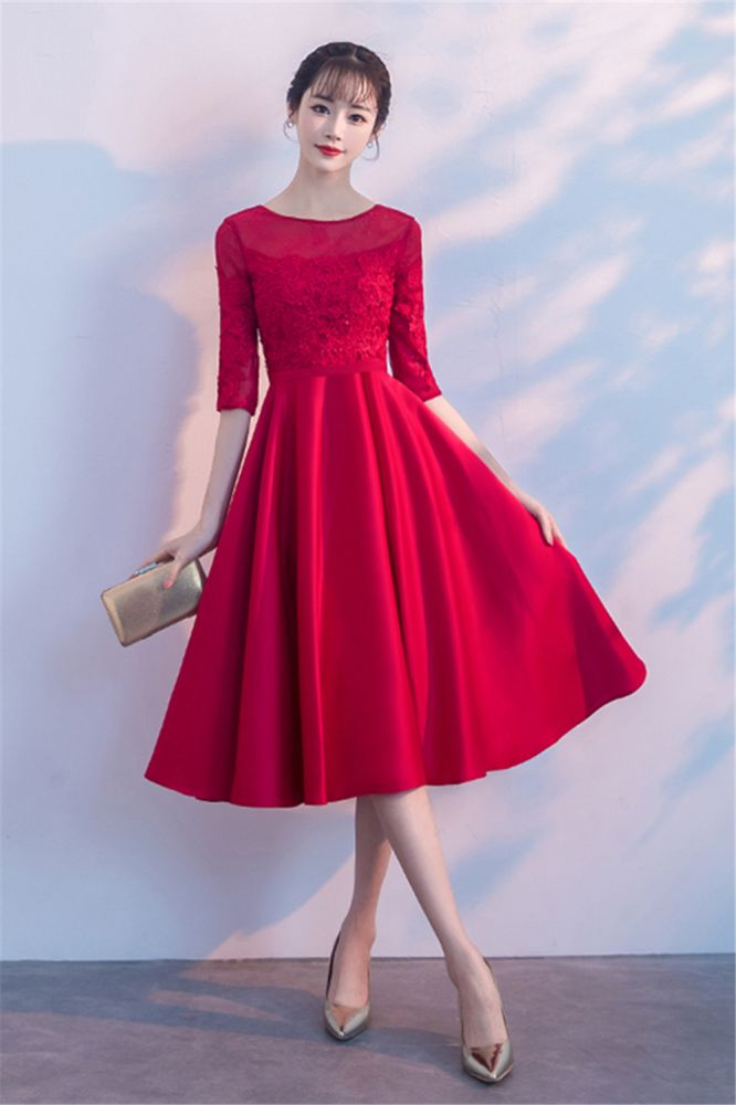 Lace A-Line Zipper Rot Halbarm Heimkehr Kleid