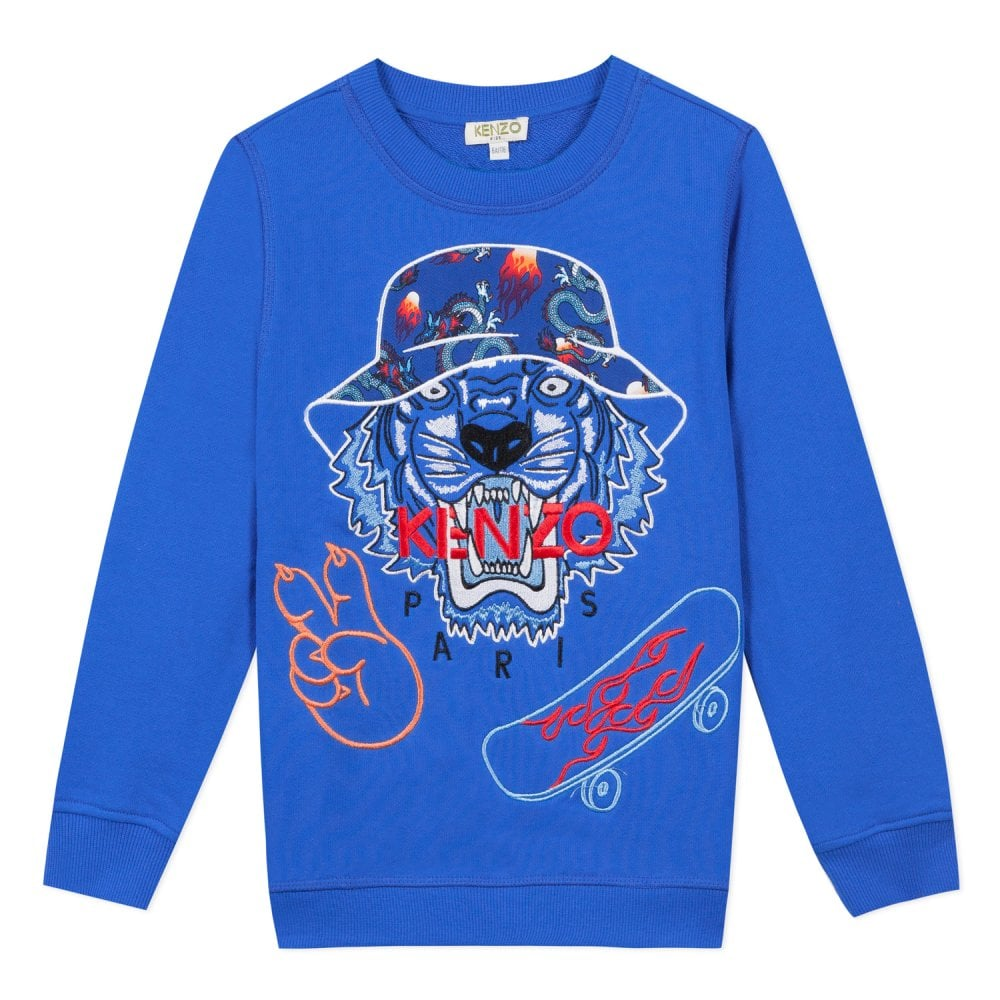 Kenzo Kids Graphic Tiger Sweatshirt Blue Colour: BLUE, Size: 2 YEARS