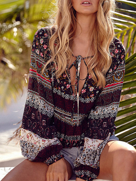 Yoins Lace Up Design Paisley Deep V Neck Long Sleeves Top