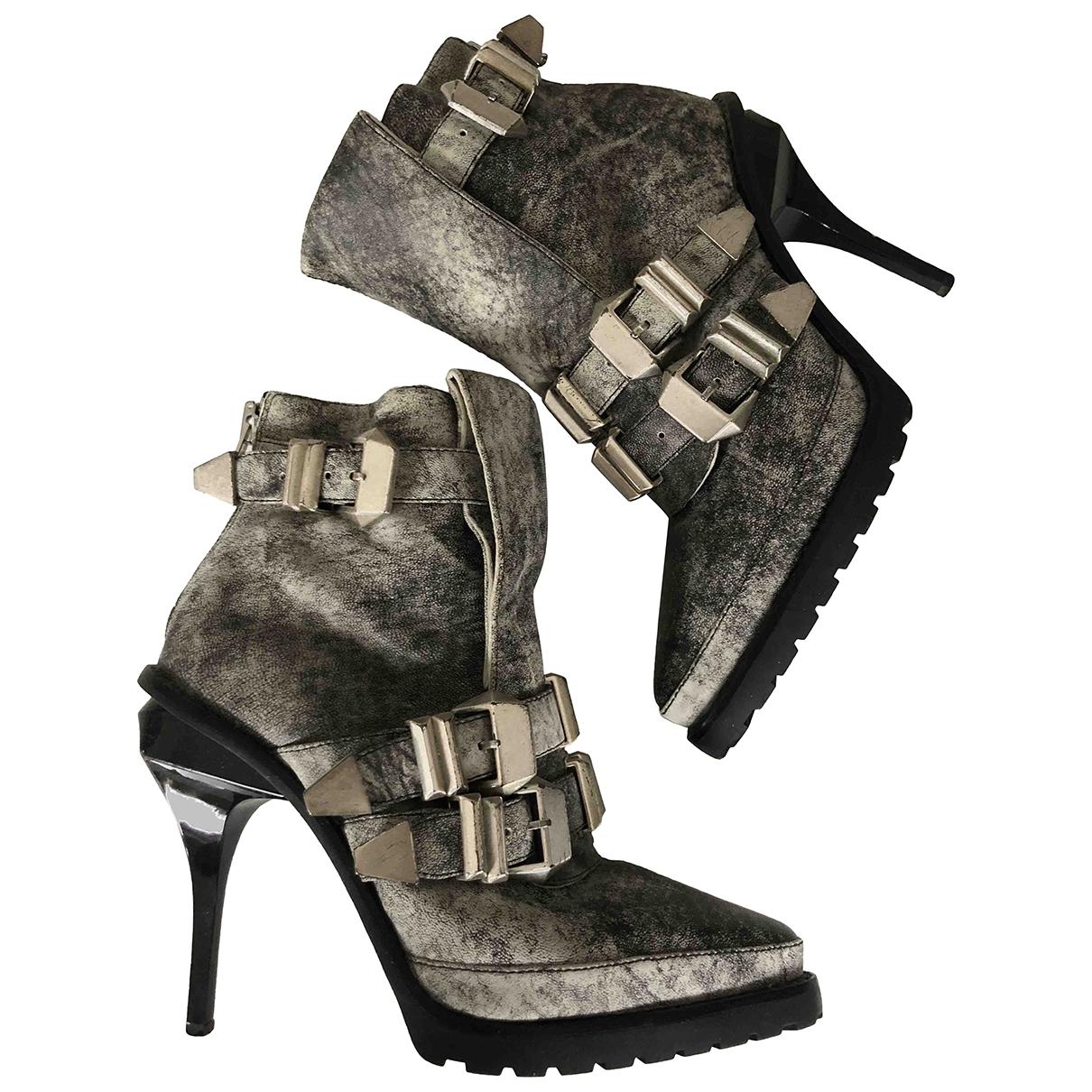 Alexander Wang - Boots   pour femme en cuir - gris