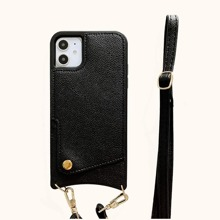 1pc Solid iPhone Wallet Case With 1pc Lanyard