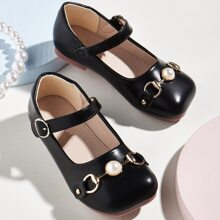 Toddler Girls Faux Pearl Decor Mary Jane Flats