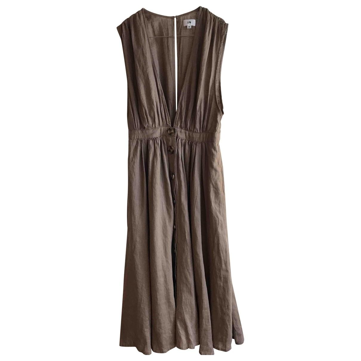 Lpa \N Kleid in  Kamel Leinen
