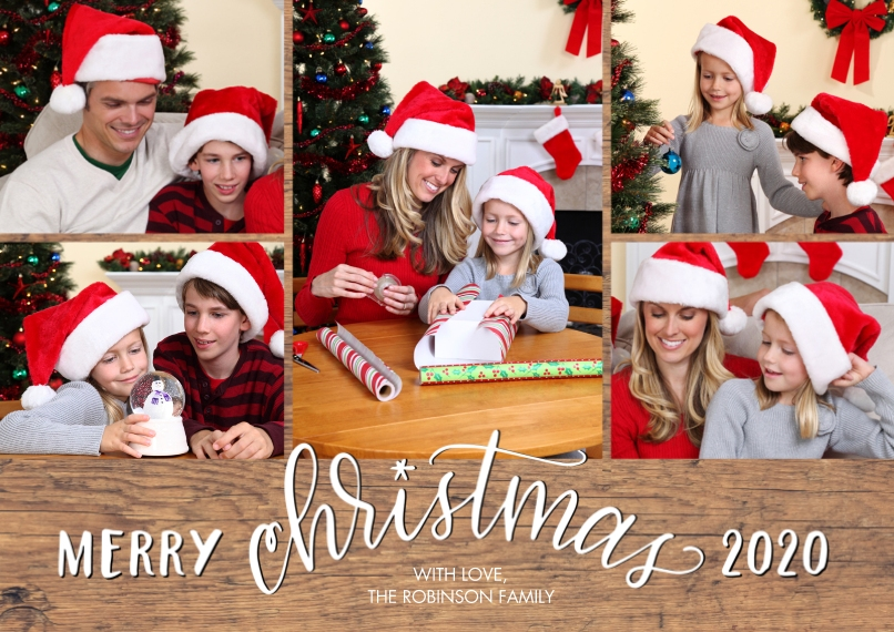 Christmas Photo Cards Flat Glossy Photo Paper Cards with Envelopes, 5x7, Card & Stationery -2020 Merry Script Christmas by Tumbalina