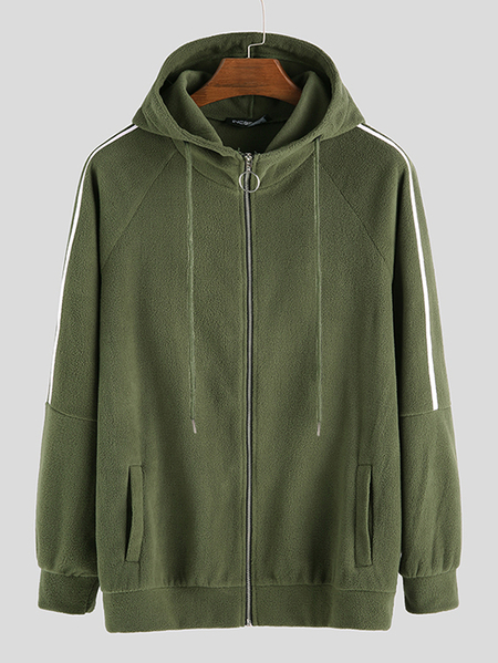 Yoins INCERUN Men Fall Double Pockets Zipper Up Hooded Casual Sweatshirt