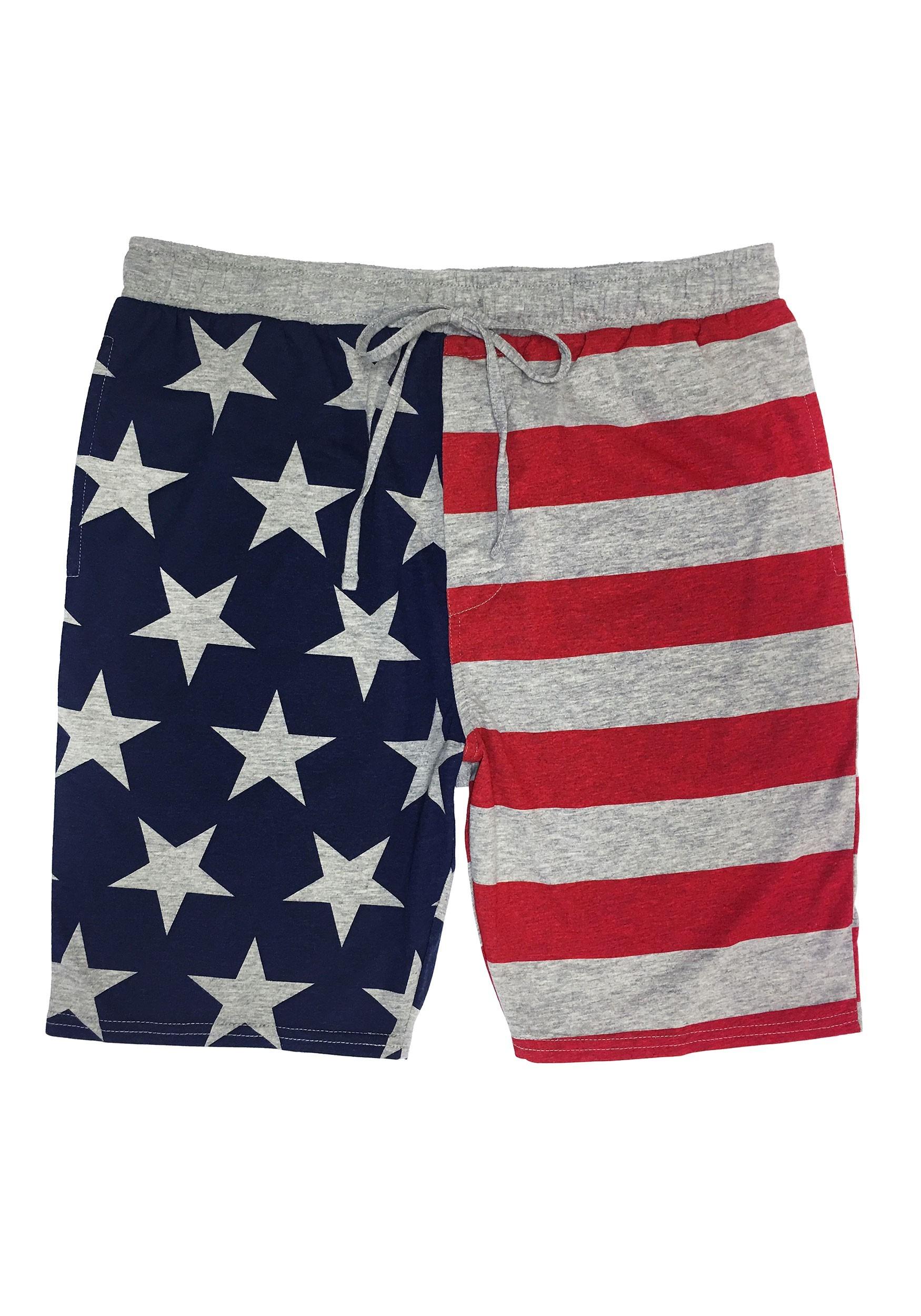 American Flag Drawstring Heather Gray Sleep Shorts