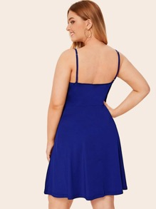 Plus Solid Low Back Flare Cami Dress
