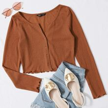 Button Front Lettuce Edge Waffle Knit Tee