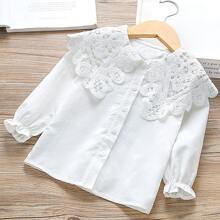 Camisa en abanico con encaje en contraste