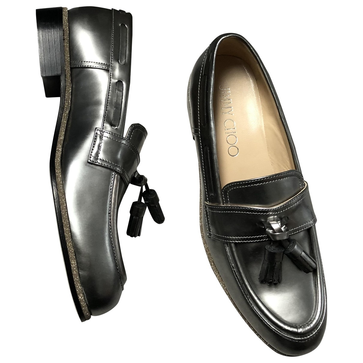 Jimmy Choo \N Silver Leather Flats for Women 38 EU