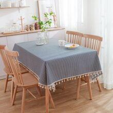 Striped Pattern Print Tassel Tablecloth