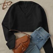 V-neck Fuzzy Crop Sweater