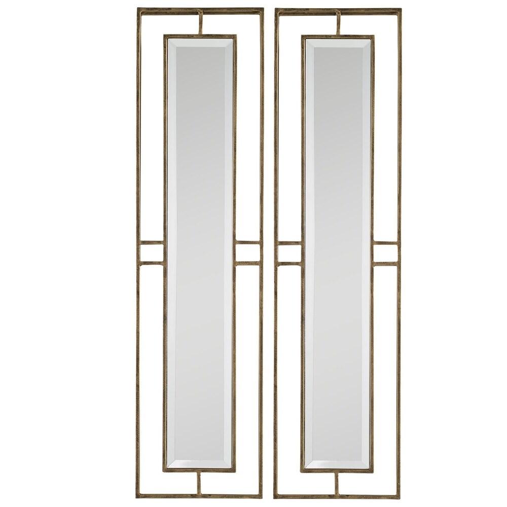 2 - Gold Contemporary Rectangular Glass Mirrors 30