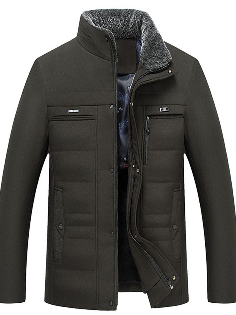 Ericdress Stand Collar Mid-Length Plain Zipper Korean Mens Down Jacket