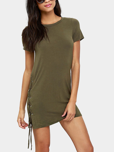 Yoins Army Green Round Neck Lace-up Design Dress
