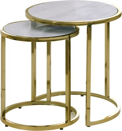 Massimo 207-E 2-Piece End Table with Marble Top and Metal Frame in