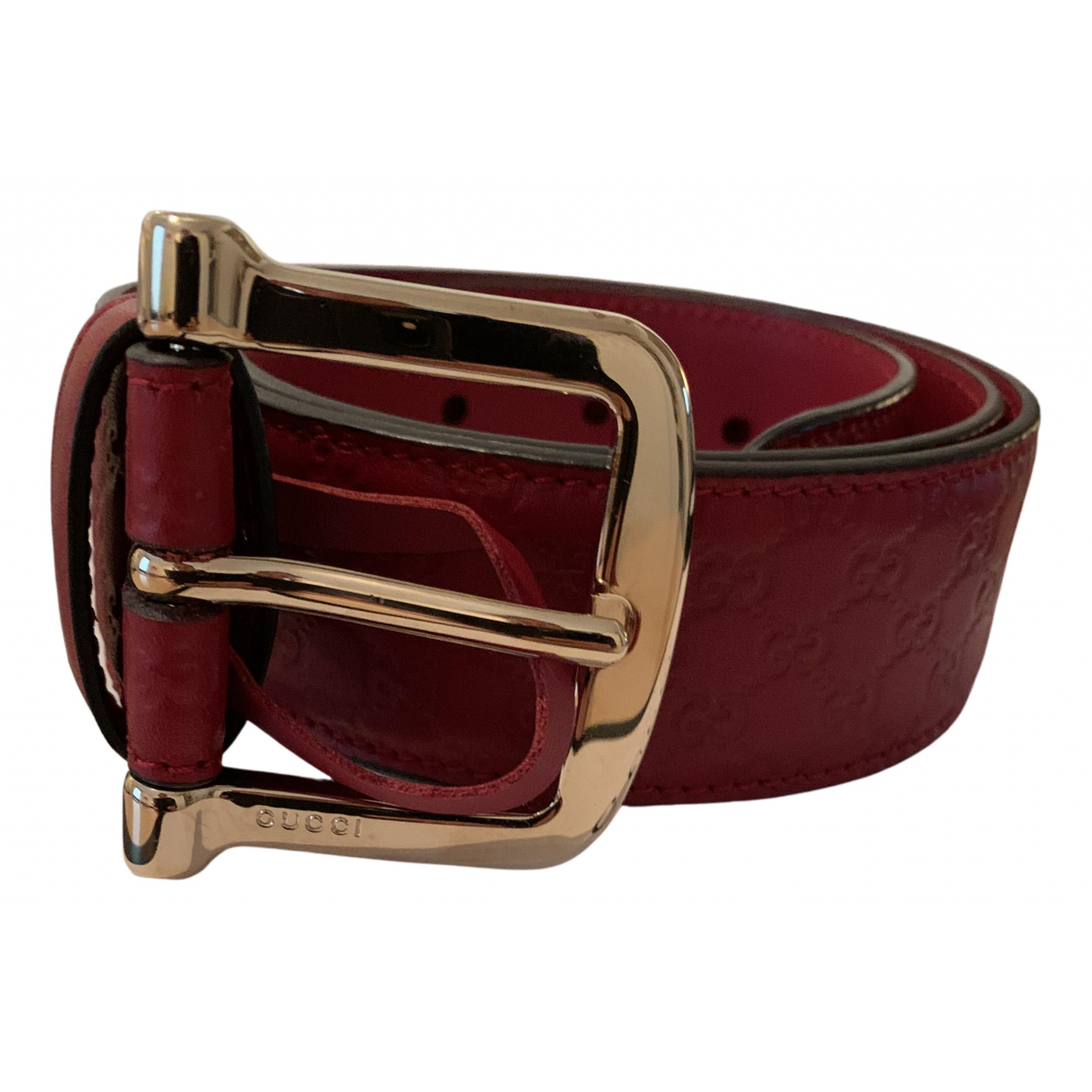 Gucci N Red Leather belt for Women 80 cm