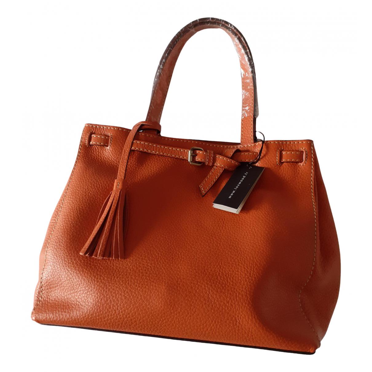 - Sac a main   pour femme en cuir - orange