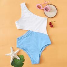 Girls Two Tone One Shoulder One Piece Swimwear