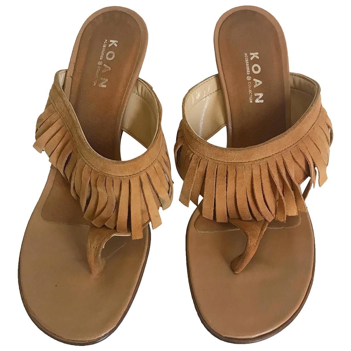 - Sandales Hippie Chic pour femme en suede - camel