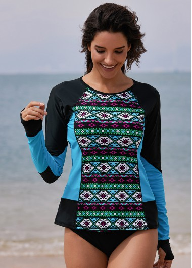 Long Sleeve Geometric Print Round Neck Swimwear Top - XL
