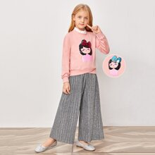 Girls Color Changed Sequin Figure Graphic Pullover & Pleated Glitter Pants Set