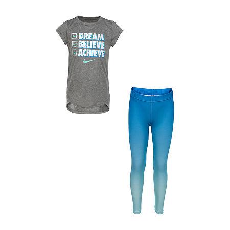 Nike Toddler Girls 2-pc. Legging Set, 4t , Blue