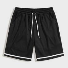 Men Drawstring Waist Track Shorts