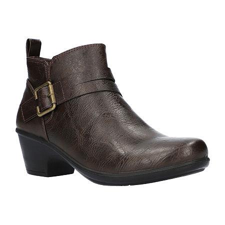 Easy Street Womens Hester Booties Block Heel, 6 1/2 Medium, Brown