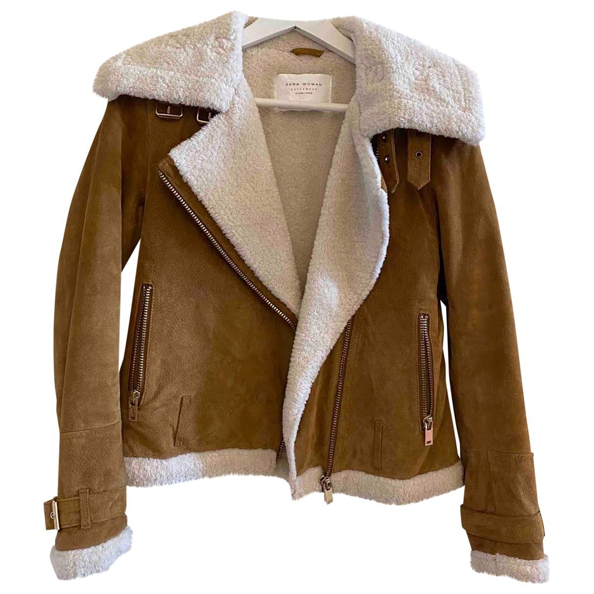 Zara - Veste   pour femme en suede - marron