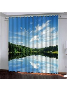 Vivid Blue Sky Clean Late and Green Trees 3D Printed Decorative Blackout Custom Scenery Curtains