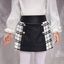 Toddler Girls Double Button Contrast Plaid Skirt