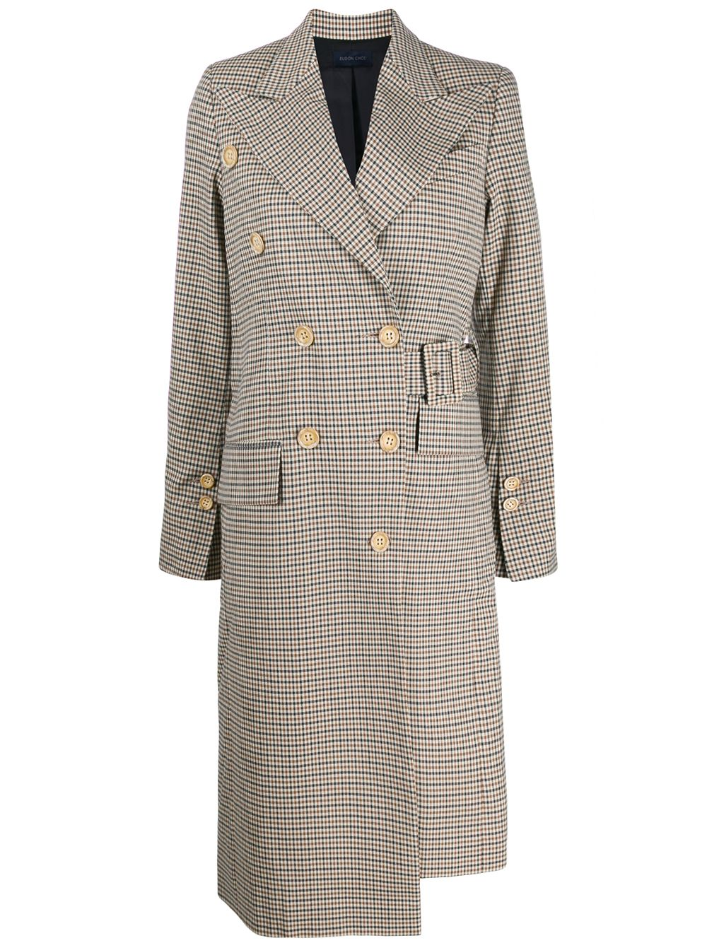Wool Blend Checked Pattern Coat