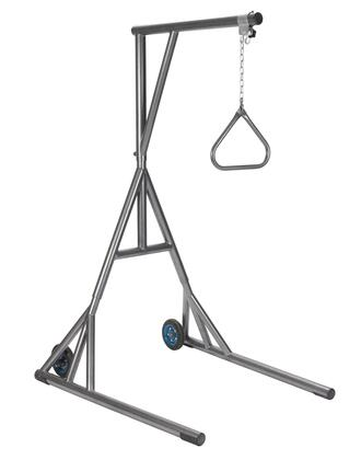 13039sv Heavy Duty Trapeze With Base And Wheels  Silver