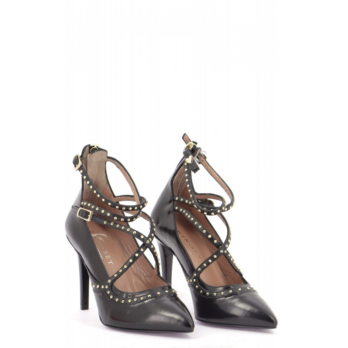 Twin Set N Black Leather Heels for Women 38 EU