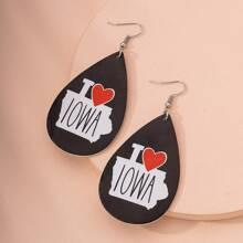 Ohrringe mit Buchstaben Design und Wassertropfen Dekor