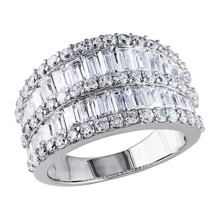 Womens 3.5mm 6 CT. T.W. White Cubic Zirconia Sterling Silver Band, 7 , No Color Family