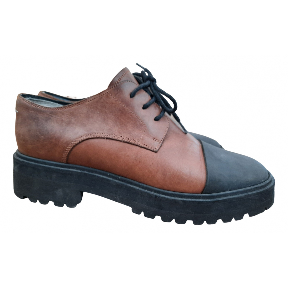 Mm6 N Brown Leather Lace ups for Women 38.5 EU