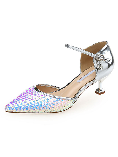 Milanoo Women Mid-Low Heels Iridescent Woven Pointed Toe Kitten Heel D\'orsay