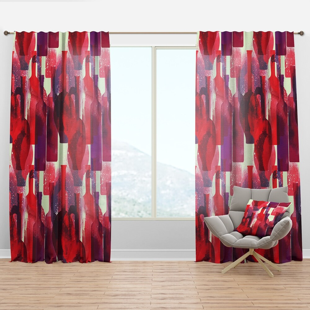 Designart 'Imprints of Wine Bottles' Bohemian & Eclectic Curtain Panel (50 in. wide x 63 in. high - 1 Panel)