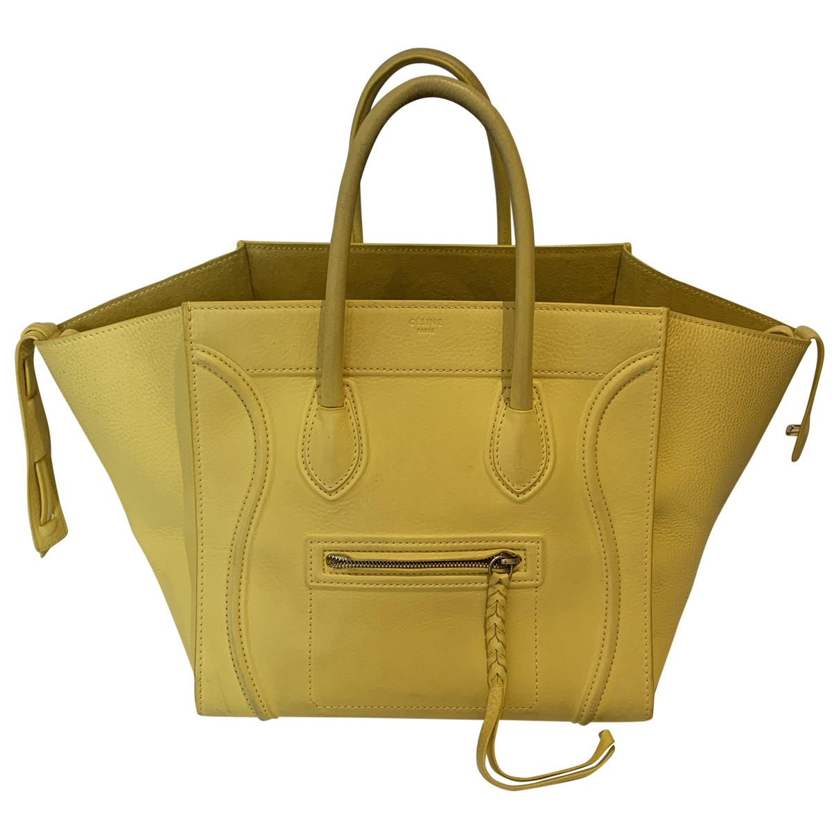 Celine - Sac a main Luggage Phantom pour femme en cuir - jaune