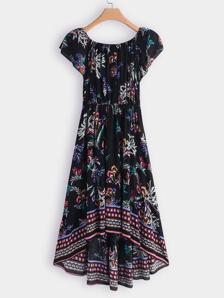 Yoins Random Floral Print Off Shoulder Short Sleeves Irregular Hem Dress