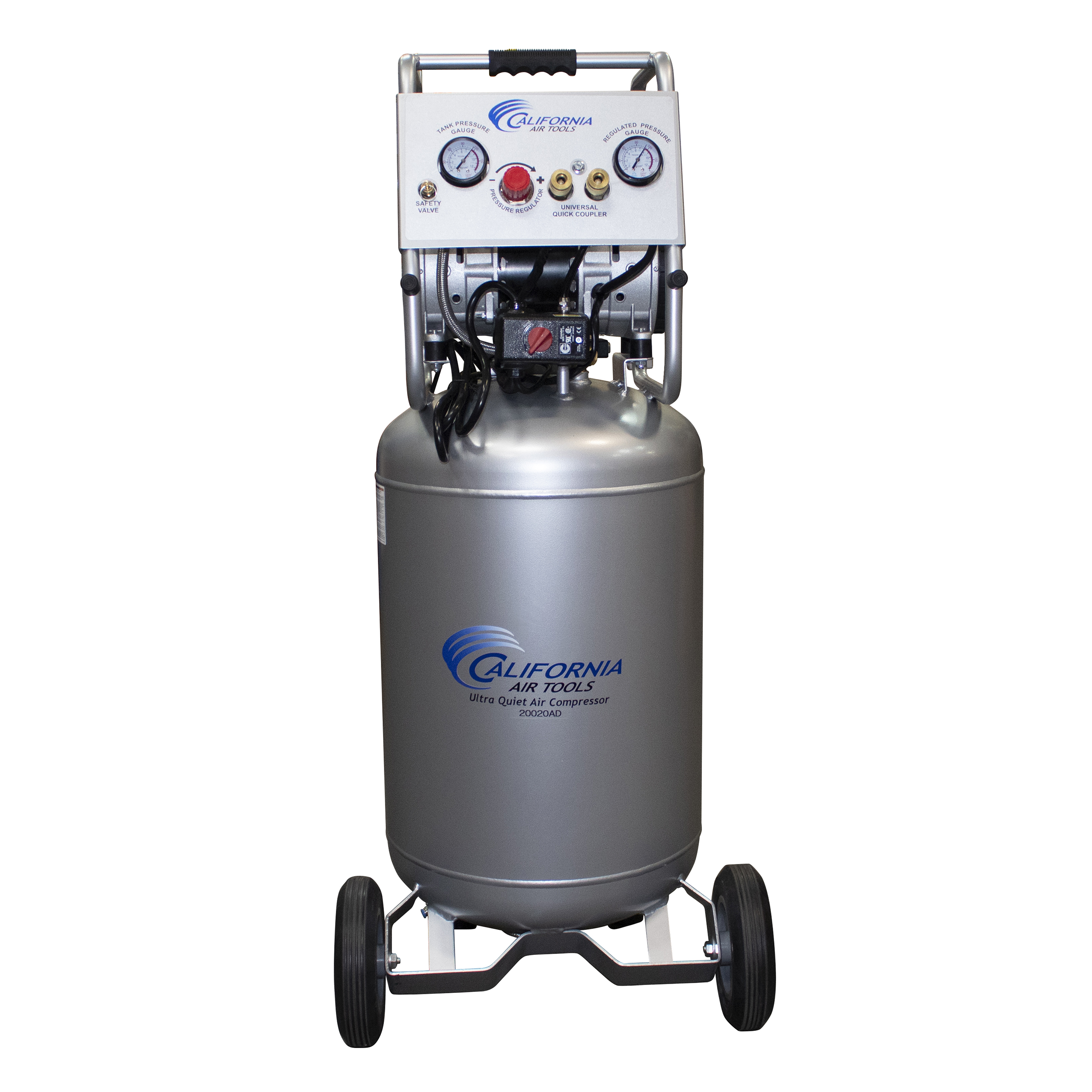 Ultra Quiet and Oil-Free Air Compressor 2 HP, 20 Gallon Steel Tank with Auto Drain, 220V 60 Hertz