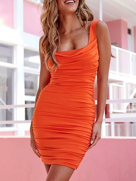 Milanoo Bodycon Dresses Orange Straps Neck Pleated Backless Casual Sleeveless Pencil Dress