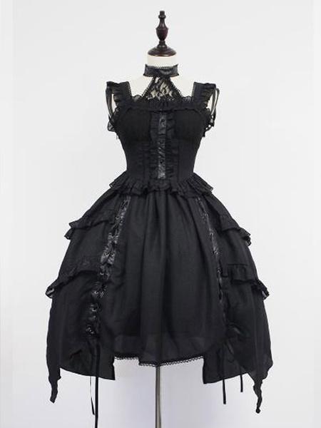 Milanoo Gothic Lolita JSK Dress Lace Frill Lolita Jumper Skirts