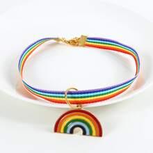1 pieza collar para gato de rayas de arcoiris